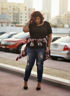 Cute clothes too. Weesha wears Forever 21 plus size black peplum top, jeans and plaid shirt, New Look chain strap shows, Marc by Marc Jacobs purse Fashion Kids, Curvy Girl Fashion, 90s Fashion, Plus Size Fashion, Fashion Outfits, Grunge Fashion, Fashion Women, Looks Style, Looks Cool