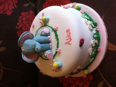 Elephant first birthday girl cake