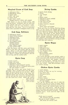 Southern Recipes The Southern cook book of fine old recipes : Lustig, Lillie S, ed : Free Downloa… Retro Recipes, Old Recipes, Vintage Recipes, Cookbook Recipes, Cooking Recipes, Cajun Cooking, Family Recipes, Seafood Dishes, Recipes