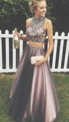 Two Pieces Rhinestone Black Tulle Gorgeous 2017 Long Prom Dresses The dress is fully lined, 4 bones in the bodice, chest pad in the bust, lace up back or zipper back are all available, total 126 color