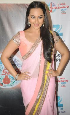 One of the best pic of #Sonakshi Sinha in Manish Malhotra Pink Saree during promotion of #dabangg 2 at sa re ga ma pa