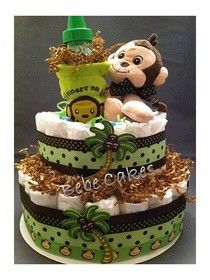 Diaper cake... lots of pics and custom themes/colors at Bebe Cakes