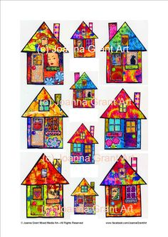 This is a collection of my funky houses I designed to use in my mixed media and collage art. I am often asked to offer collage sheets for others Collage Art Mixed Media, House Illustration, Whimsical Art, Collage Sheet, Art Plastique, Medium Art, Altered Art, Wood Art, Art Lessons