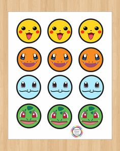 Instant Download Pokemon Birthday Cupcake by CreativePartyStudio                                                                                                                                                                                 More