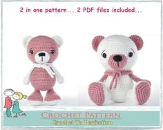 Check out our amigurumi pattern teddy bear selection for the very best in unique or custom, handmade pieces from our shops. Crochet Animal Patterns, Stuffed Animal Patterns, Crochet Patterns Amigurumi, Crochet Animals, Amigurumi Doll, Crochet Dolls, Stuffed Animals, Crochet Bear, Crochet Gifts