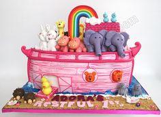 Rabbit Celebrate with Cake! Noahs Ark Cake, Noahs Ark Party, Noahs Ark Theme, Baby Girl Birthday Cake, Birthday Cakes, Birthday Ideas, Dedication Cake, Religious Cakes, Party Themes