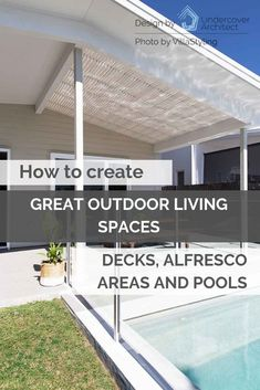 Want some great tips about how to get it right in planning your outdoor living areas, alfresco, deck and swimming pool? Listen to the podcast now. Living Pool, Outdoor Living Areas, Outdoor Rooms, Living Spaces, Outdoor Showers, Outdoor Decor, Alfresco Area, Decks, Swimming Pools