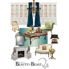 Disneyhome- Beauty and the Beast Library Inspired room by bijouxetsoirees on Polyvore featuring polyvore, interior, interiors, interior design, home, home decor, interior decorating, Ethan Allen, Horgans and Neiman Marcus