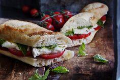 fitness | Tumblr  #Tomato, Fresh #Mozzarrella, and #Kale on baguette.