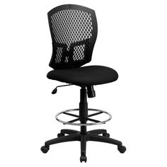 Flash Furniture Mid-Back Designer Back Drafting Chair with Padded Fabric Seat - WL-3958SYG-BK-D-GG