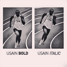 "Picture of the day... ""Usain Bold"" at Rio 2016 Typographical Games ! L'image du jour... ""Usain Bold"" aux jeux typographiques de Rio ! Source: https://www.facebook.com/grapheine/posts/1057106701040860:0"
