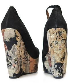 Jeffrey Campbell Black and Cat Tapestry Pizan Platform Shoe