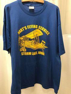 d573b03b4 Bart's Flying Service Iowa Airplane Blue Yellow Tee Shirt Mens XL Graphic T  #JERZEES #