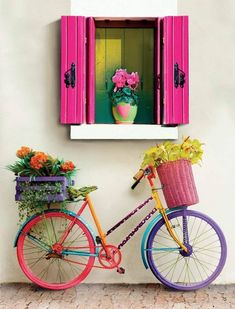 Full Round DIY Diamond Painting Flowers And Bicycles Embroidery Cross Stitch Rhinestone Bike Planter, Bicycle Art, World Of Color, Yard Art, Cute Wallpapers, Garden Design, Colours, Decoration, Crafts
