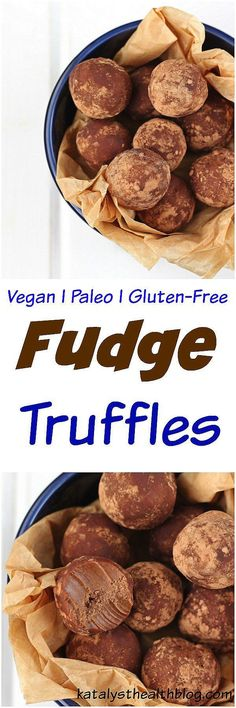 Fudge Truffles [Vegan & Paleo] - Decadent and rich, these fudge truffles are vegan, paleo and refined sugar free! With just 5 ingredients and less than 20 minutes of chilling time, these fudge truffles are a quick, healthy and delicious fudge treat!