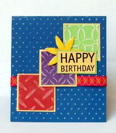 handmade birthday card featuring  Core'dinations ColorCore Cardstock® ... luv th saturated colors ... my favorite way to use Core'dinations: lightly sanding embossing folder texture ...