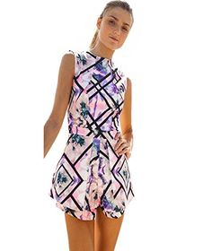 Tenworld Womens Summer Jumpsuit High Waist Print Playsuit Shorts Rompers Sexy *** You can find out more details at the link of the image.