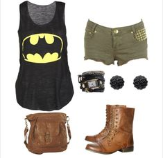 A cute outfit for summer, or replace shorts with army green skinny jeans and add a brown leather jacket for a fall look.