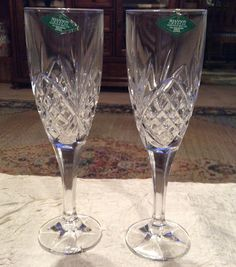 """Shannon Crystal 8 1/2"""" Wedding Wine Goblets, Designs of Ireland, 24% Lead Crystal, Made in Slovakia - pinned by pin4etsy.com"""