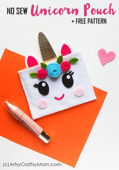 No Sew Felt Unicorn Pouch Craft for Teens + Free Template is part of Felt crafts For Teens - Turn heads with a pretty, no sew felt Unicorn Pouch, custom designed by you! All you need is felt and a good quality glue gun to hold everything in place! Arts And Crafts For Adults, Craft Kits For Kids, Easy Arts And Crafts, Crafts For Girls, Arts And Crafts Projects, Arts And Crafts Supplies, Craft Ideas For Teen Girls, Felt Projects, Tween Girls