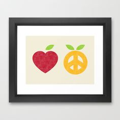 Apple and Orange - Love and Peace Framed Art Print by Budi Satria Kwan.