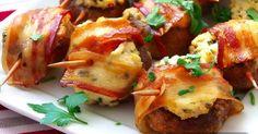 Zapékané žampiony s ricottou a slaninou hotové za pár minut Ricotta, Baked Potato, Appetizers, Potatoes, Beef, Baking, Ethnic Recipes, Food, Meat