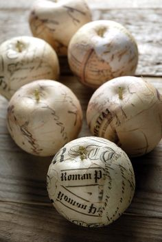 French Script Parchment Paper Apples...such a great accent for a romantic French inspired wedding
