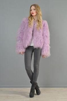Lilac mongolian lamb jacket @Bustown Modern
