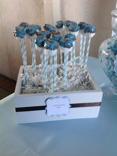 Dipped marshmallow pops! If we have a boy this would be perfect for my ideal baby shower
