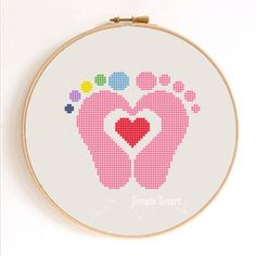 ***saved***Baby Feet with Heart Silhouette Counted Cross Stitch Pattern Cross Stitch Baby, Counted Cross Stitch Patterns, Cross Stitch Charts, Cross Stitch Embroidery, Embroidery Patterns, Loom Patterns, Pattern Pictures, Baby Feet, Christmas Cross
