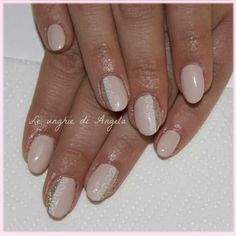 Nude nails with delicate lace on gel nails