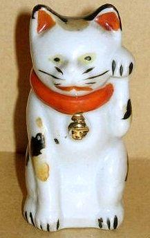 """Maneki Neko - Seto - Painted Porcelain. Meiji Period, Circa 1868-1912. 3""""."""