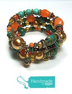 Boho Gypsy Bracelet, Orange Bracelet, Turquoise Bracelet, Bohemian Jewelry, Memory Wire Bracelet from Thea Design Concepts http://www.amazon.com/dp/B016FMJQEM/ref=hnd_sw_r_pi_dp_F3ygwb0NMVPD5 #handmadeatamazon