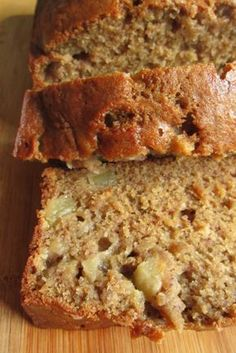 Apple Banana Bread. Made this on 9/20. Doubled the recipe - added 1 extra apple and used coconut oil instead of vegetable oil. Also added chopped walnuts. It made 18 muffins, 2 small loaves, and a baby cake. Cook time muffins approx 18 minutes. AMAZING.