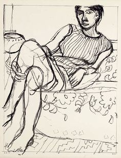 Richard Diebenkorn - Seated Woman in Striped Dress