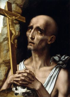 Luis de Morales (c. Saint Jerome in the Wilderness Oil on canvas. 62 x cm. National Gallery of Ireland, Dublin. Spanish Painters, Spanish Artists, National Gallery Of Ireland, Renaissance, Barnard Castle, St Jerome, Baroque Art, Religious Paintings, Pintura