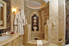 Deluxe, Super Elegant Bathroom Interior Design Possibility if moving the shower . Modern Bathroom Design, Bathroom Interior Design, Interior Modern, Bathroom Designs, Bathroom Ideas, Luxury Hotel Bathroom, Hotel Bathrooms, Luxury Bathrooms, Fancy Houses