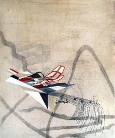 Sarah Amos Special Elsewhere, 2009 Collagraph with gouache 40 × 30 in 101.6 × 76.2 cm adición