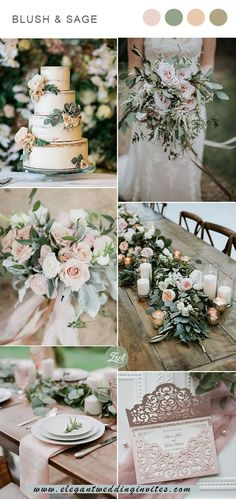 sweet blush and sage green spring and summer garden wedding color scheme aesthetic color schemes 6 Classic Blush Wedding Color Combos that are All Time in Style Elegant Wedding Colors, Blush Wedding Colors, Spring Wedding Colors, Wedding Color Schemes, Summer Wedding Themes, Spring Wedding Decorations, Spring Weddings, Garden Wedding Themes, Colour Themes For Weddings