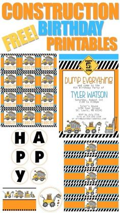 Construction birthday party free printables, including an invitation, cupcake toppers or favor bag tags, birthday banner, water bottle labels and food cards. Construction Birthday Parties, Construction Party, 4th Birthday Parties, Birthday Fun, Birthday Ideas, Birthday Banners, 1st Birthdays, Digger Birthday, Third Birthday