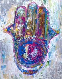 """SOLD! - EXCLUSIVE PERK to benefit Project SOAR: HAMSA 3 of 10: Original piece by fine artist, Maggie O'Neill. Acrylic on canvas 16""""x20"""". ONE AVAILABLE #crowdfunding #indiegogo #art #fineart #ProjectSOAR"""