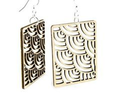 Raindrop Circle Wood Laser Cut Earrings by GreenTreeJewelry