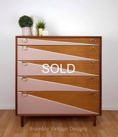 SOLD SOLD -Mid century Chest of Drawers, Tallboy Drawers Pink and White, Vintage Teak furniture. - Chest of drawers Teak Furniture, Refurbished Furniture, Mid Century Furniture, Upcycled Furniture, Shabby Chic Furniture, Painted Furniture, Diy Old Furniture Makeover, Furniture Design, Painted Dressers