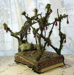 "Enchanting Mossy Jewel Fairy Bed by Melissa Chaple via Etsy.  Another ""wow!"".  Visit her store, and check out her fairy dollhouse site, too- link at her Etsy shop. --Meggie"