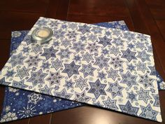 Hanukkah Placemats - Set of 4 Placemats - Star of David Placemats - Snowflake Placemats - Blue and Silver Placemats - Winter Placemats