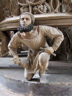 Self-portrait of the sculptor Adam Kraft at his main workplace in the church tabernacle of the Lorenzkirche, Nürnberg. Renaissance, Filippo Brunelleschi, Steinmetz, Wooden Statues, Landsknecht, Plastic Art, Medieval Art, Middle Ages, Art History