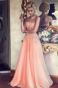 Blush Pink Tulle Evening Dress New Arrival A-line Strapless Lace Appliqued Floor Length Long Sweet 16 Dress Party