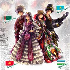 APH: Turkic countries from Central Asia by Kagome-Inuyashkina