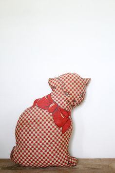 Vintage Cat Pillow // Red Stuffed Kitty by littleredchairshop, $24.00