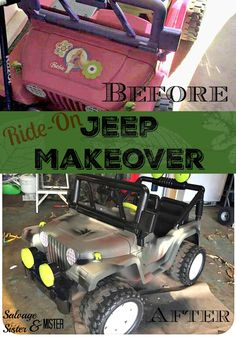 DIY Ride-On Jeep Makeover - From Pink to Camouflage - What to do when your kids want a toy that is out of the budget?  Turning to yard sales, thrift stores, goodwill, or craigslist is a great option.  And if it's not exactly what they were looking for, you do a little DIY magic and it's like a brand new toy.  Budget friendly and easy to do. Salvage Sister and Mister